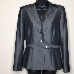 Tahari 8 Metalic Fitted Blazer Snap Front Charcoal